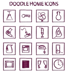 Doodle home icons vector