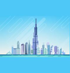dubai city skyscraper view cityscape background vector image