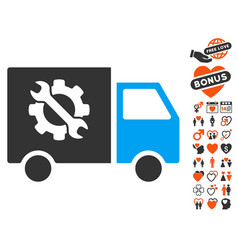 Equipment truck icon with dating bonus vector