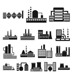 Factory and facilities black icons in set vector