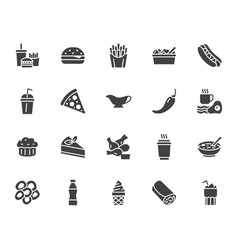 Fast food flat line glyph set burger combo lunch vector