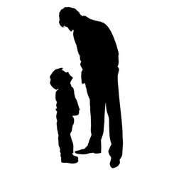 father looking at son silhouette vector image
