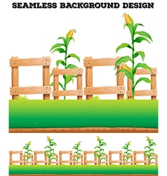 Fence and corns on the ground vector