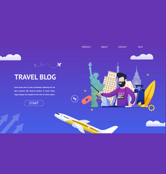 Flat banner young bearded man leads a travel blog vector