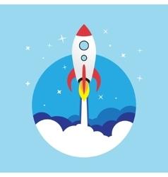 flat rocket web icon vector image