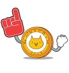 Foam finger monacoin mascot cartoon style vector