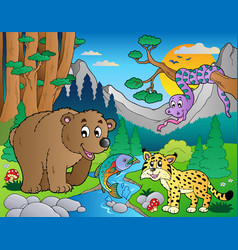 Forest scene with various animals 9 vector