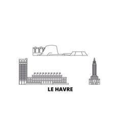 France le havre line travel skyline set france vector