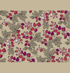gooseberry hand drawn outline seamless pattern vector image