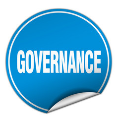 Governance round blue sticker isolated on white vector