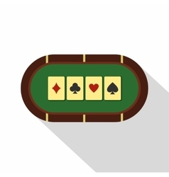 Green poker table icon flat style vector image