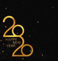 happy 2020 new year golden banner vector image