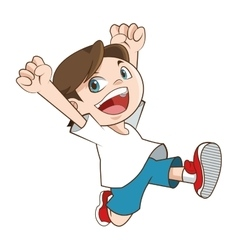happy smiling running boy icon vector image