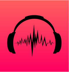 headphones icon with sound wave beats vector image