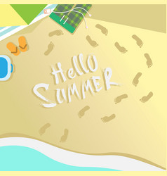 hello summer beach top angle view vacation sand vector image