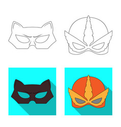 Hero and mask sign set of vector