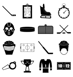 Hockey items icons set simple style vector