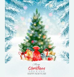 Holiday background with a christmas tree and vector