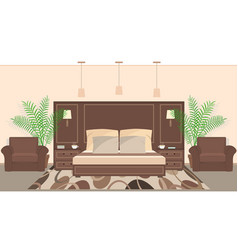 hotel room interior in warm colors with furniture vector image