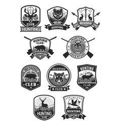 Hunting club hunt adventure icons set vector