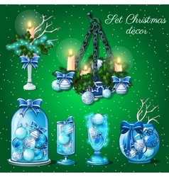 Interior decoration in Christmas time 6 items vector image