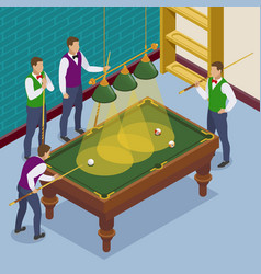 isometric billiards players composition vector image