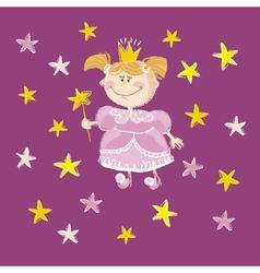 Kid girl princess with stars vector