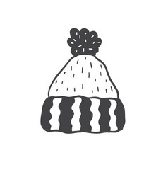 knitted hat with pompon minimalist scandinavian vector image