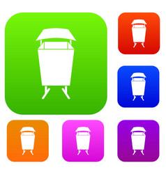 litter waste bin set color collection vector image