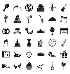 Love banquet icons set simple style vector