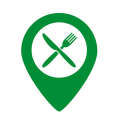 Map marker location with fork and knife vector