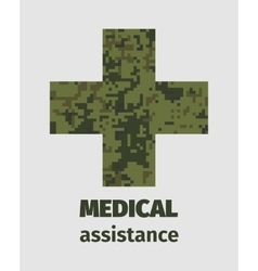 Medical assistance poster design with cross vector