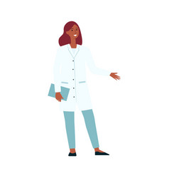 medical female doctor standing and gesticulating vector image