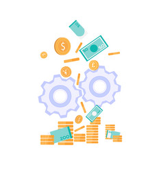 Money production investment metaphor flat banner vector