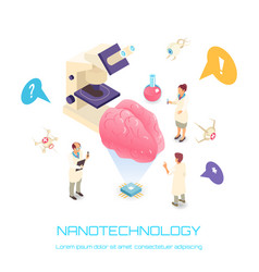 Nanotechnology isometric concept vector