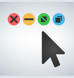 Os or web multicolor buttons with mouse cursor vector