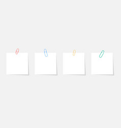 Paper sticker with paperclip set with shadow vector