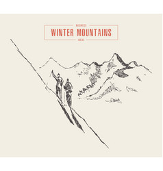 people climb mountain winter mountain ski vector image
