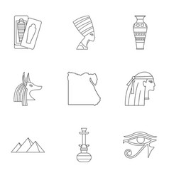 pharaon of egypt icons set outline style vector image