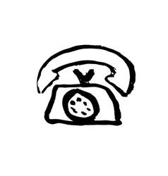 phone grunge icon ink brush vector image