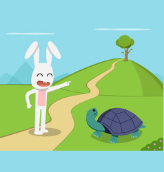 rabbit invite tortoise to competition vector image