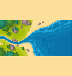 river flow into sea or pond top view scenic stream vector image
