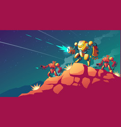 Robot war on alien planet mars vector