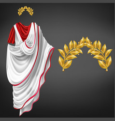 Roman toga golden laurel wreath realistic vector