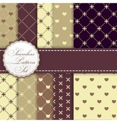 Romantic Seamless Pattern Background Set vector image