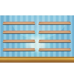 Room with wooden shelves and floor vector
