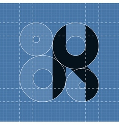 Round engineering font Symbol K vector image