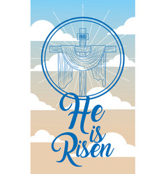 Sacred cross in heaven religion - he is risen vector