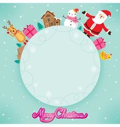 Santa Claus And Friend On Circle Frame vector image