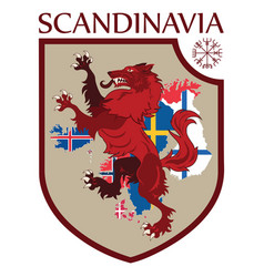 Scandinavian design heraldic shield a wolf on a vector